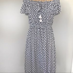 Kate Spade Arrow Rayon Dress Black and White